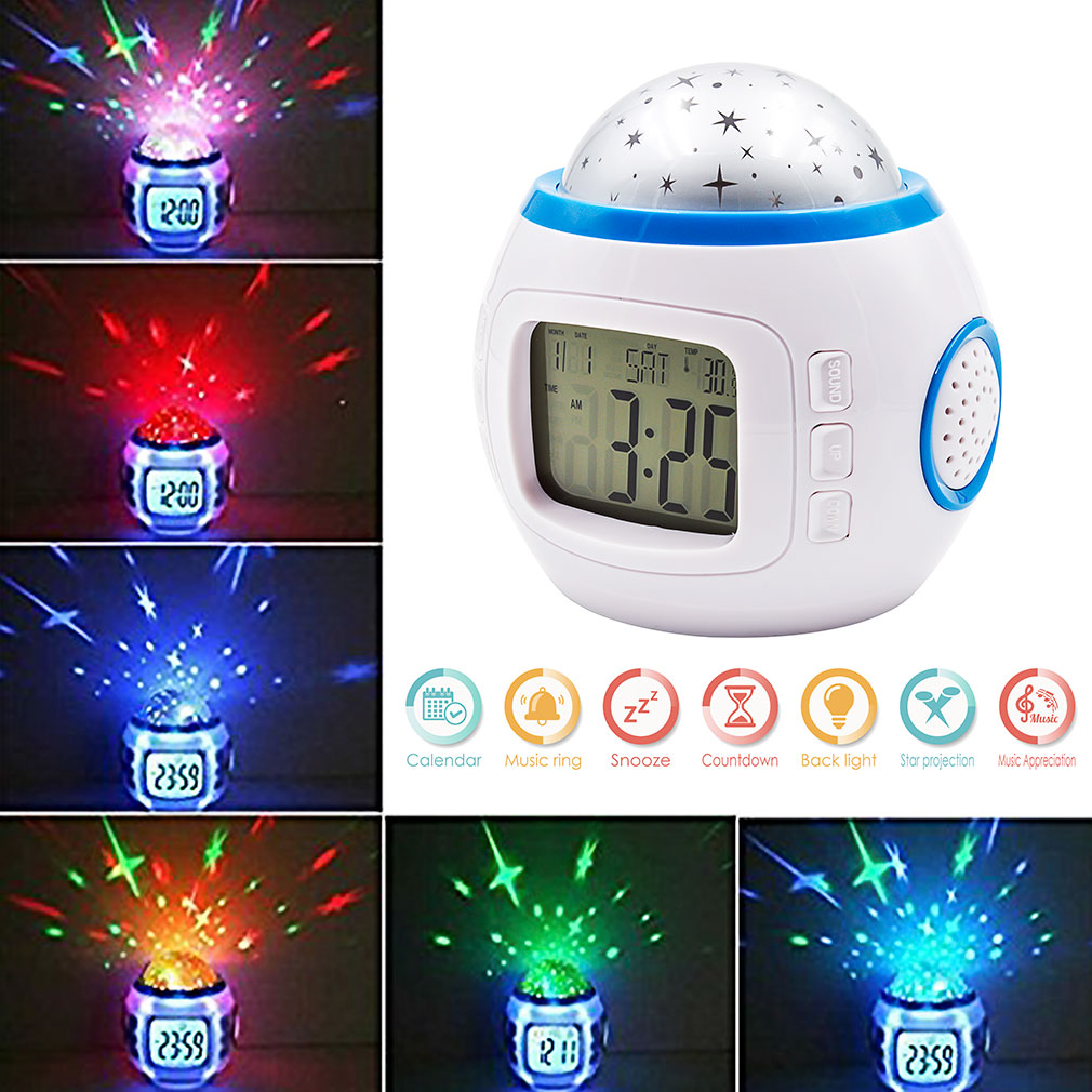 GEREE Star LED Clock Children Sky Star Night Light Projector Lamp Bedroom  Alarm Clock With Music For Kids Christmas Gift